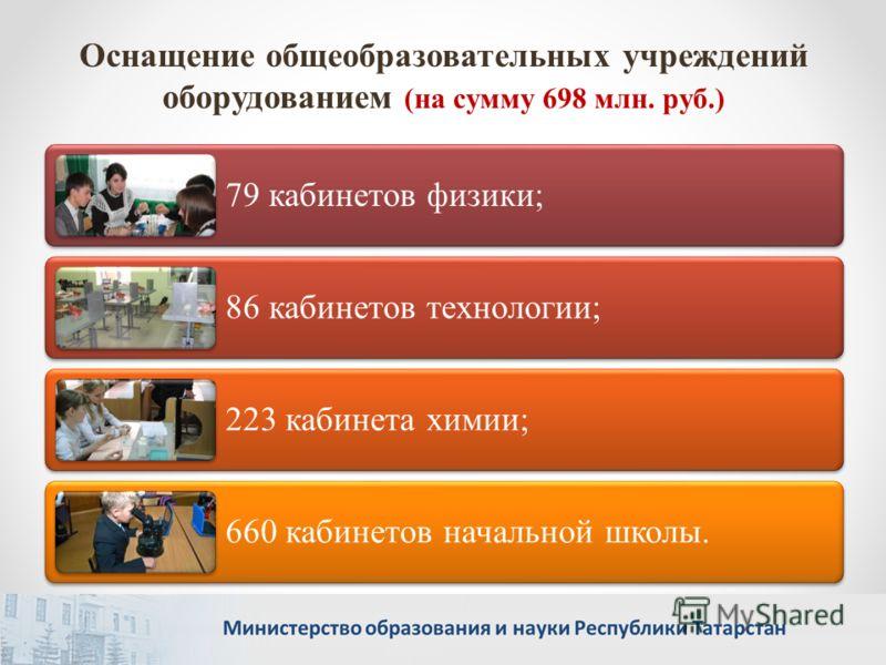 Оснащение общеобразовательных учреждений оборудованием (на сумму 698 млн. руб.) 79 кабинетов физики; 86 кабинетов технологии; 223 кабинета химии; 660 кабинетов начальной школы.