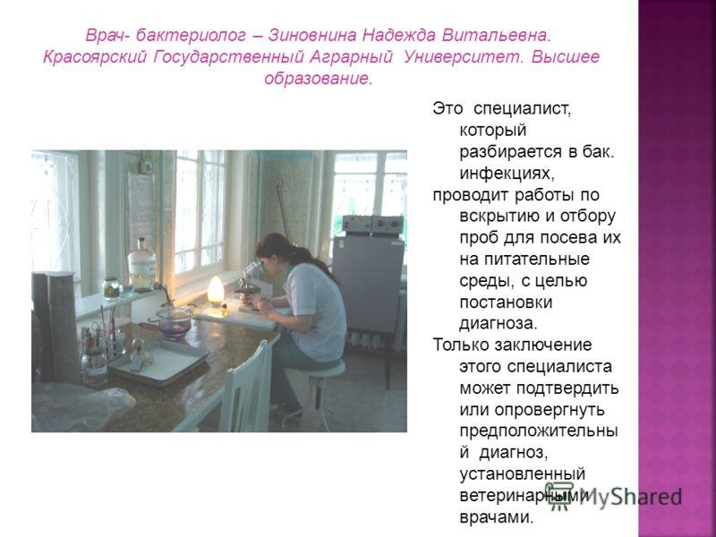 Врач- бактериолог – Зиновнина Надежда Витальевна. Красоярский Государственный Аграрный Университет. Высшее образование. Это специалист, который разбирается в бак. инфекциях, проводит работы по вскрытию и отбору проб для посева их на питательные среды
