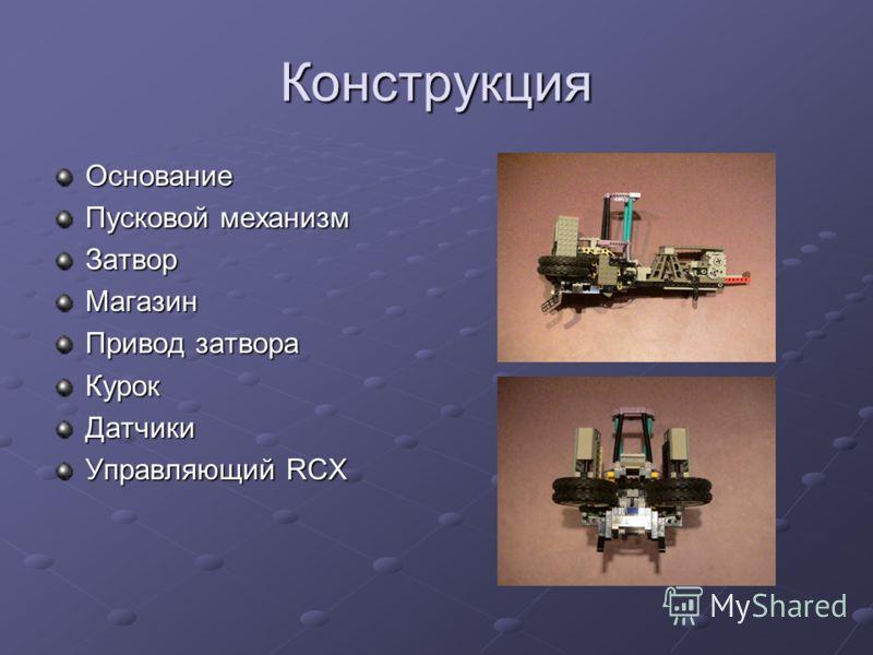 Конструкция Основание Пусковой механизм ЗатворМагазин Привод затвора КурокДатчики Управляющий RCX