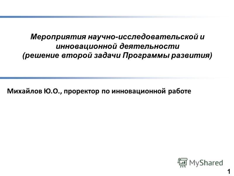 Мероприятия научно-исследовательской и инновационной деятельности (решение второй задачи Программы развития) Михайлов Ю.О., проректор по инновационной работе 1
