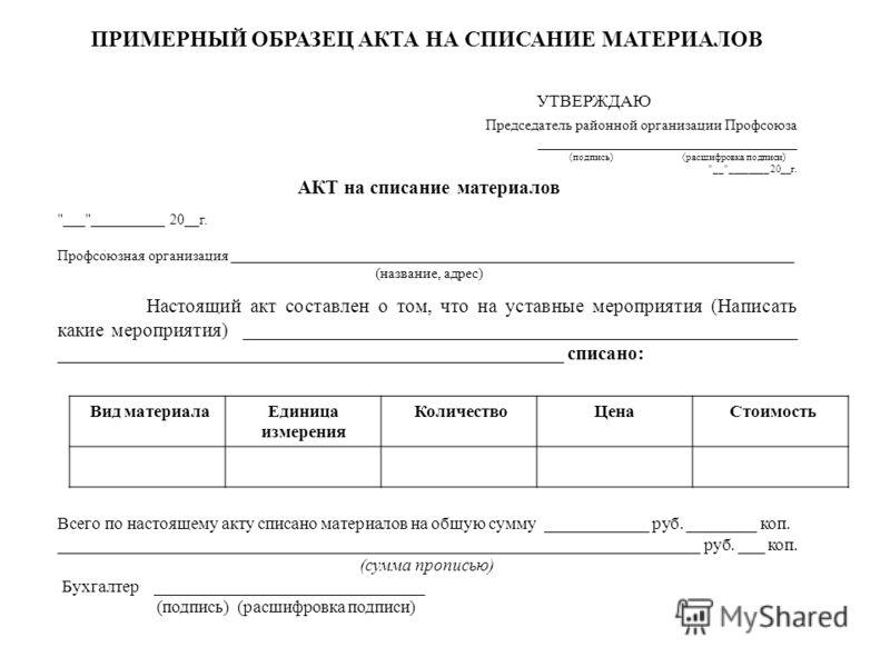 акт о списании денежных средств образец - фото 4