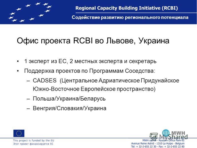 Содействие развитию регионального потенциала Офис проекта RCBI во Львове, Украина 1 эксперт из ЕС, 2 местных эксперта и секретарь Поддержка проектов по Программам Соседства: –CADSES (Центральное Адриатическое Придунайское Южно-Восточное Европейское п