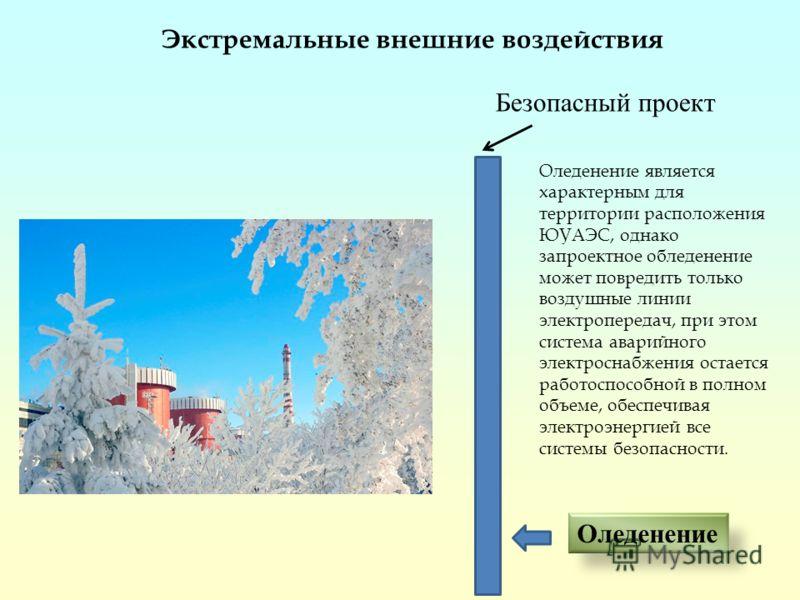 Оледенение Безопасный проект Экстремальные внешние воздействия Оледенение является характерным для территории расположения ЮУАЭС, однако запроектное обледенение может повредить только воздушные линии электропередач, при этом система аварийного электр