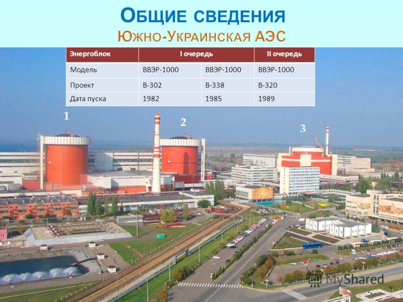 3 ЭнергоблокI очередьII очередь МодельВВЭР-1000 ПроектВ-302В-338В-320 Дата пуска198219851989 1 2 3 О БЩИЕ СВЕДЕНИЯ