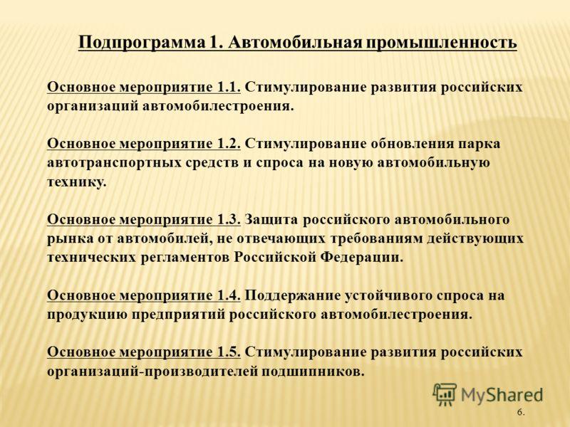 Подпрограмма 1. Автомобильная промышленность Основное мероприятие 1.1. Стимулирование развития российских организаций автомобилестроения. Основное мероприятие 1.2. Стимулирование обновления парка автотранспортных средств и спроса на новую автомобильн