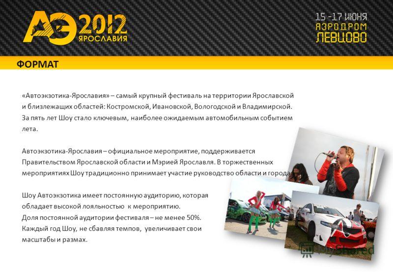 «Автоэкзотика-Ярославия» – самый крупный фестиваль на территории Ярославской и близлежащих областей: Костромской, Ивановской, Вологодской и Владимирской. За пять лет Шоу стало ключевым, наиболее ожидаемым автомобильным событием лета. Автоэкзотика-Яро