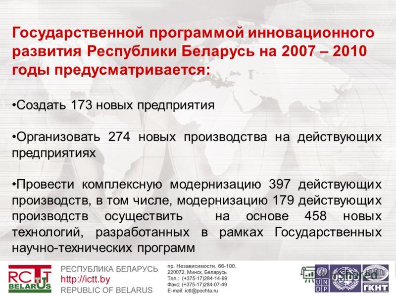 Государственной программой инновационного развития Республики Беларусь на 2007 – 2010 годы предусматривается: Создать 173 новых предприятия Организовать 274 новых производства на действующих предприятиях Провести комплексную модернизацию 397 действую