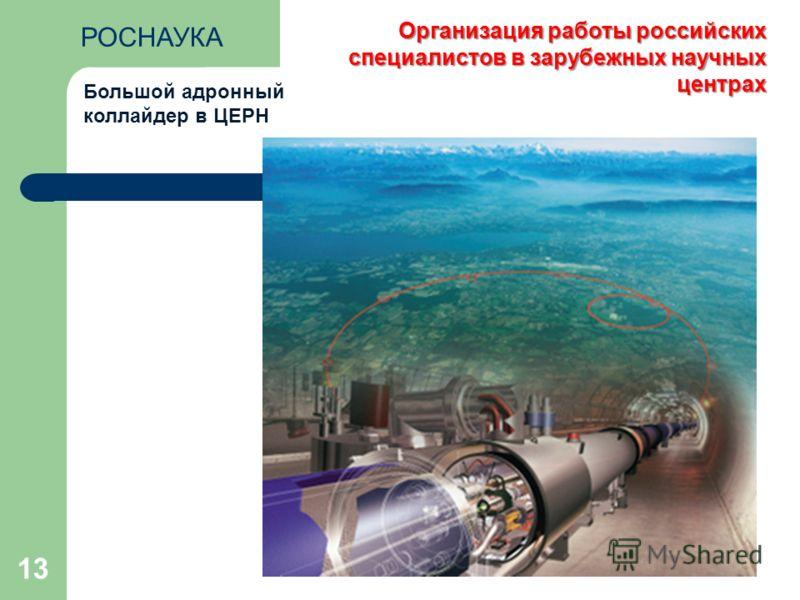 13 Большой адронный коллайдер в ЦЕРН Организация работы российских специалистов в зарубежных научных центрах РОСНАУКА