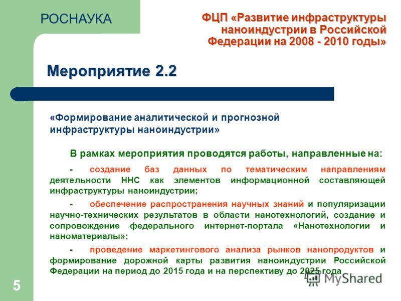 ФЦП «Развитие инфраструктуры наноиндустрии в Российской Федерации на 2008 - 2010 годы» 5 Мероприятие 2.2 «Формирование аналитической и прогнозной инфраструктуры наноиндустрии» В рамках мероприятия проводятся работы, направленные на: - создание баз да