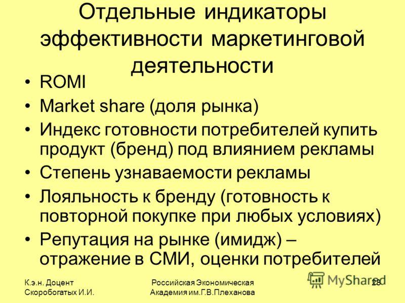 К.э.н. Доцент Скоробогатых И.И. Российская Экономическая Академия им.Г.В.Плеханова 28 Отдельные индикаторы эффективности маркетинговой деятельности ROMI Market share (доля рынка) Индекс готовности потребителей купить продукт (бренд) под влиянием рекл