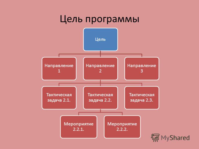 Цель программы Цель Направление 1 Направление 2 Тактическая задача 2.1. Тактическая задача 2.2. Мероприятие 2.2.1. Мероприятие 2.2.2. Тактическая задача 2.3. Направление 3