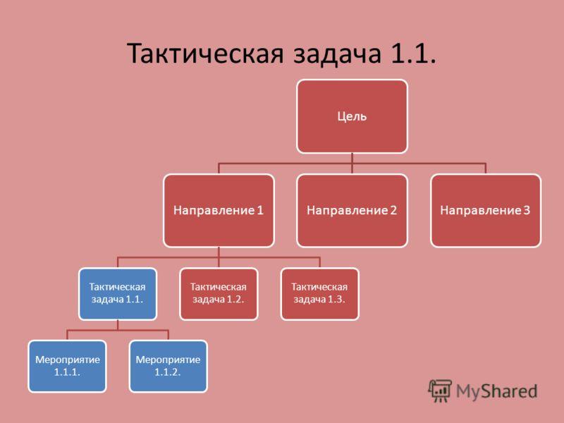 Тактическая задача 1.1. ЦельНаправление 1 Тактическая задача 1.1. Мероприятие 1.1.1. Мероприятие 1.1.2. Тактическая задача 1.2. Тактическая задача 1.3. Направление 2Направление 3