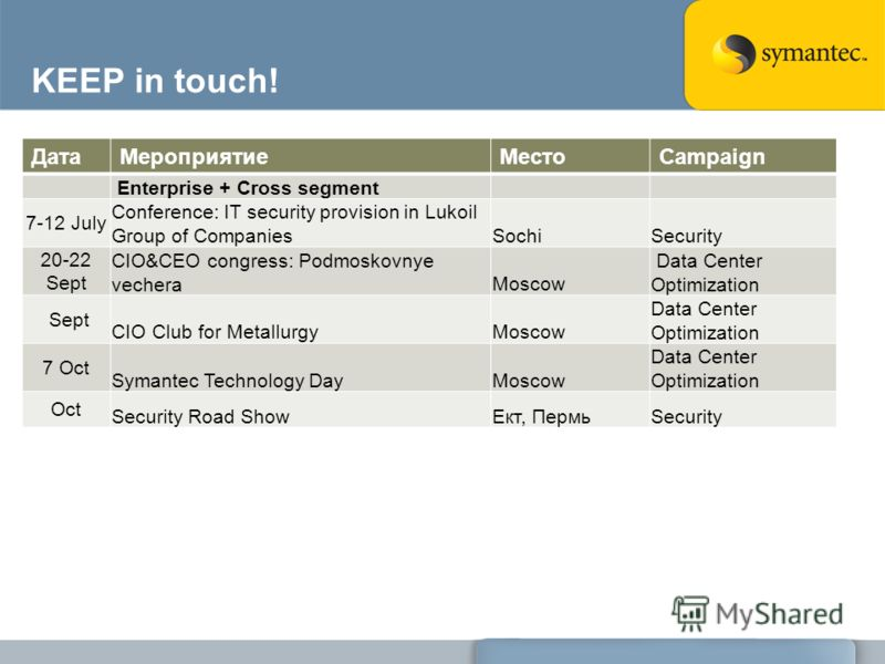 KEEP in touch! ДатаМероприятиеМестоCampaign Enterprise + Cross segment 7-12 July Conference: IT security provision in Lukoil Group of CompaniesSochiSecurity 20-22 Sept CIO&CEO congress: Podmoskovnye vecheraMoscow Data Center Optimization Sept CIO Clu