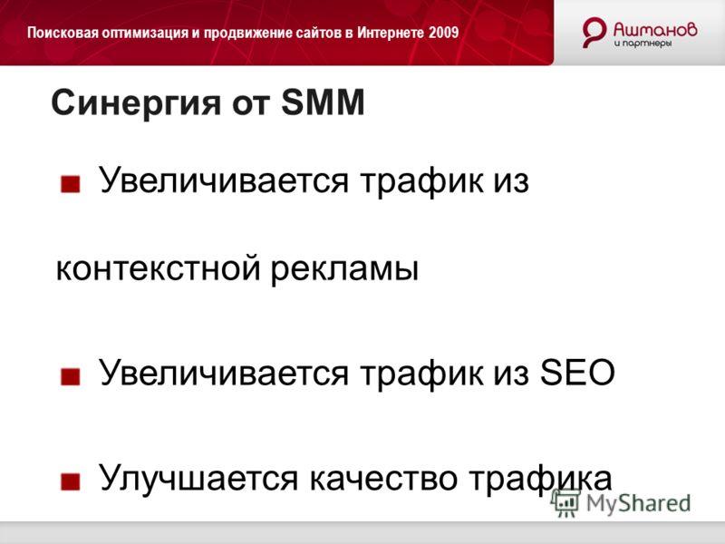 Поисковая оптимизация и продвижение сайтов в Интернете 2009 Синергия от SMM Увеличивается трафик из контекстной рекламы Увеличивается трафик из SEO Улучшается качество трафика