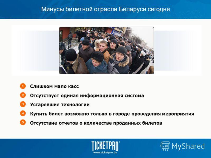 Минусы билетной отрасли Беларуси сегодня Слишком мало касс Отсутствует единая информационная система Устаревшие технологии Купить билет возможно только в городе проведения мероприятия Отсутствие отчетов о количестве проданных билетов 12345