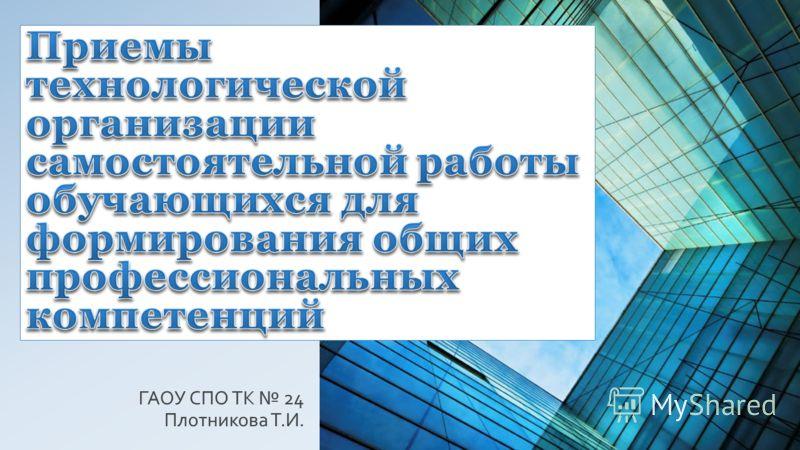 ГАОУ СПО ТК 24 Плотникова Т.И.
