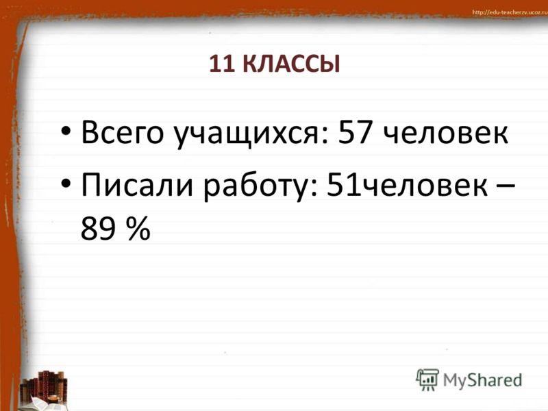 11 КЛАССЫ Всего учащихся: 57 человек Писали работу: 51человек – 89 %