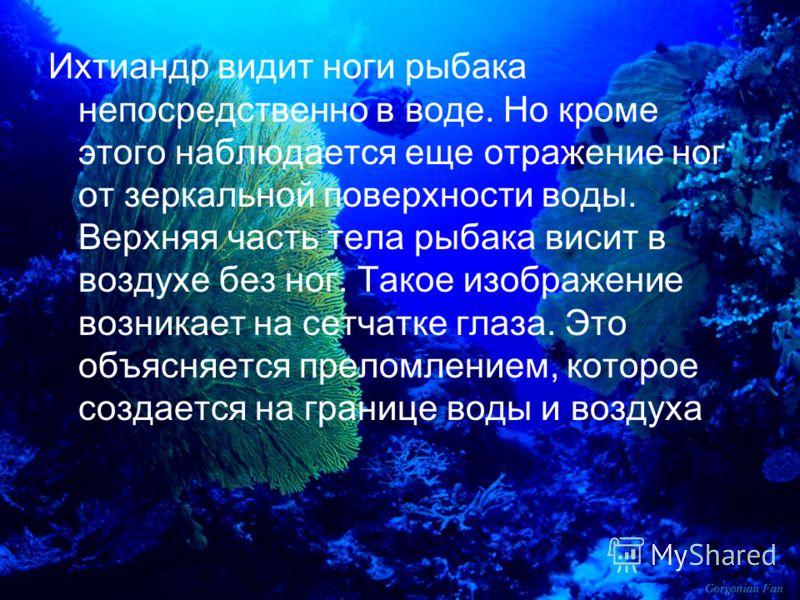 Ихтиандр видит ноги рыбака непосредственно в воде. Но кроме этого наблюдается еще отражение ног от зеркальной поверхности воды. Верхняя часть тела рыбака висит в воздухе без ног. Такое изображение возникает на сетчатке глаза. Это объясняется преломле