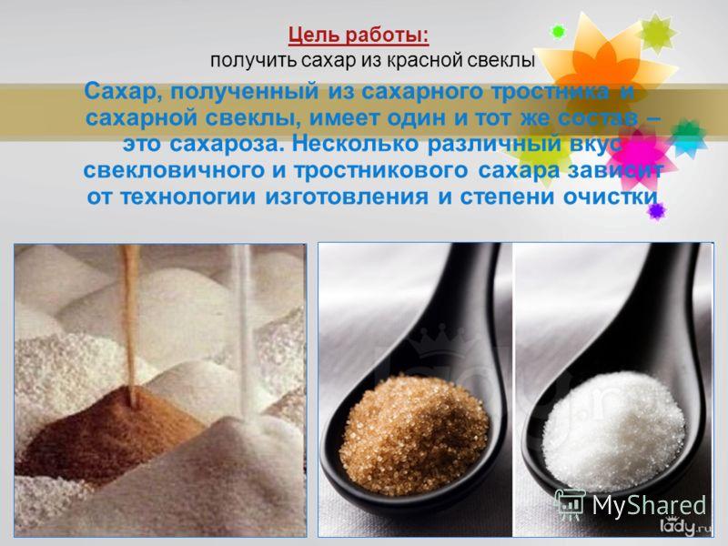 Page 2 Цель работы: получить сахар из красной свеклы Сахар, полученный из сахарного тростника и сахарной свеклы, имеет один и тот же состав – это сахароза. Несколько различный вкус свекловичного и тростникового сахара зависит от технологии изготовлен