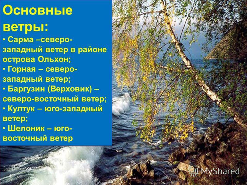 Основные ветры: Сарма –северо- западный ветер в районе острова Ольхон; Горная – северо- западный ветер; Баргузин (Верховик) – северо-восточный ветер; Култук – юго-западный ветер; Шелоник – юго- восточный ветер Основные ветры: Сарма –северо- западный