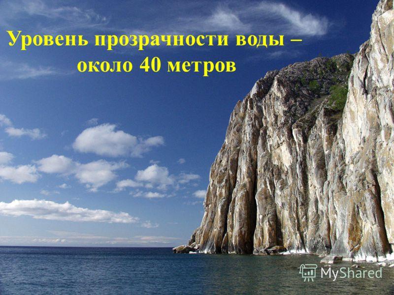 Уровень прозрачности воды – около 40 метров