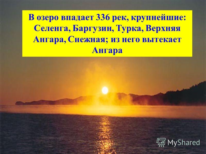 В озеро впадает 336 рек, крупнейшие: Селенга, Баргузин, Турка, Верхняя Ангара, Снежная; из него вытекает Ангара