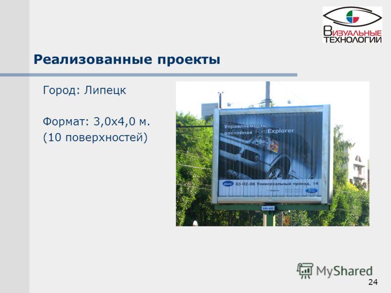 24 Реализованные проекты Город: Липецк Формат: 3,0х4,0 м. (10 поверхностей)
