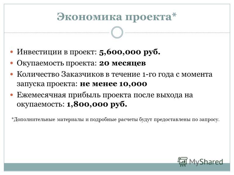 Экономика проекта* Инвестиции в проект: 5,600,000 руб. Окупаемость проекта: 20 месяцев Количество Заказчиков в течение 1-го года с момента запуска проекта: не менее 10,000 Ежемесячная прибыль проекта после выхода на окупаемость: 1,800,000 руб. *Допол