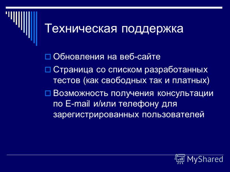 Техническая поддержка Обновления на веб-сайте Страница со списком разработанных тестов (как свободных так и платных) Возможность получения консультации по E-mail и/или телефону для зарегистрированных пользователей
