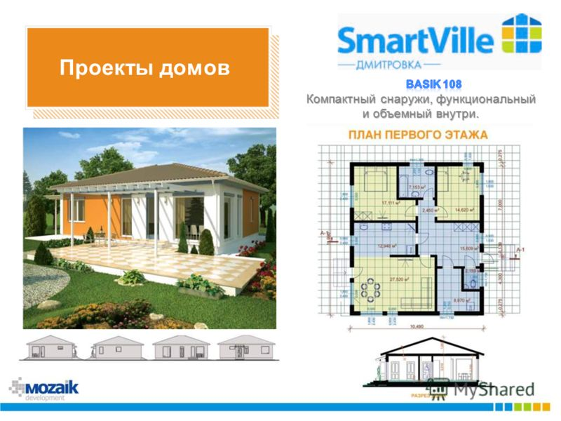 Проекты домов Компактный снаружи, функциональный и объемный внутри.