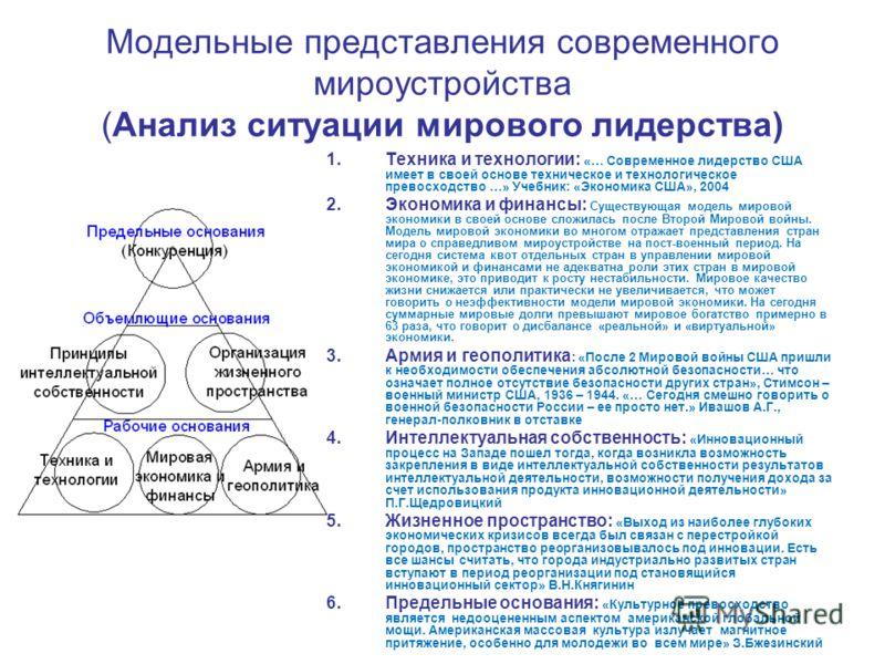 Модельные представления современного мироустройства (Анализ ситуации мирового лидерства) 1.Техника и технологии: «… Современное лидерство США имеет в своей основе техническое и технологическое превосходство …» Учебник: «Экономика США», 2004 2.Экономи