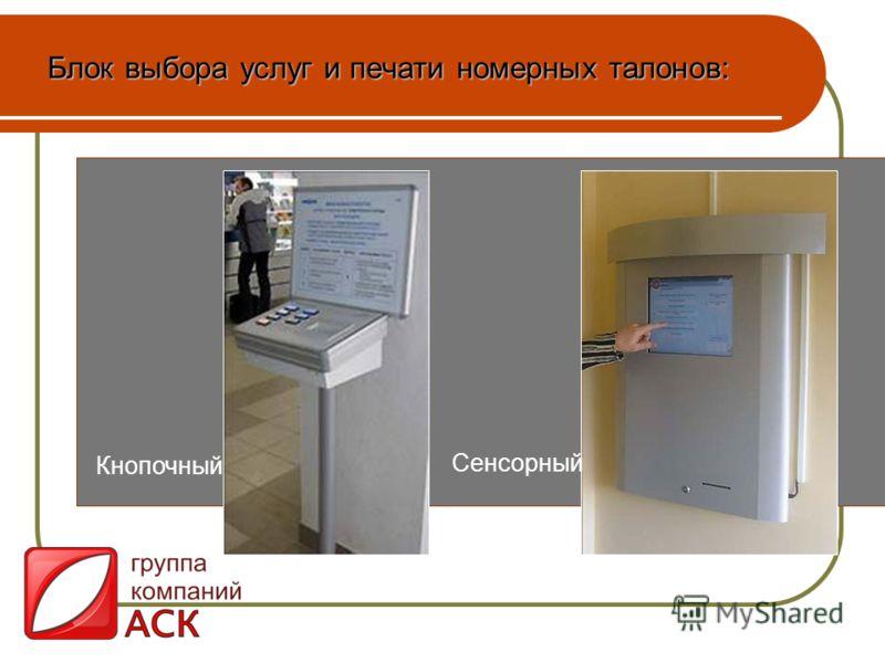 Блок выбора услуг и печати номерных талонов: Кнопочный Сенсорный