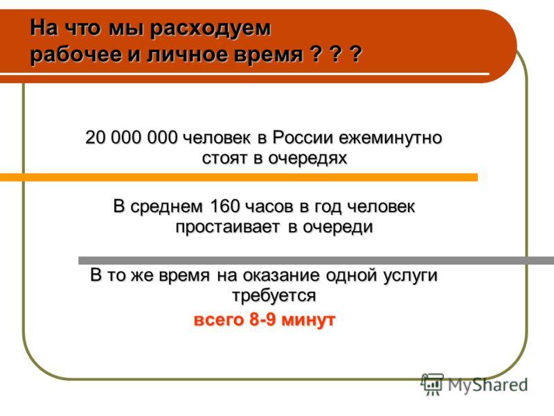 20 000 000 человек в России ежеминутно стоят в очередях В среднем 160 часов в год человек простаивает в очереди В то же время на оказание одной услуги требуется всего 8-9 минут На что мы расходуем рабочее и личное время ? ? ?