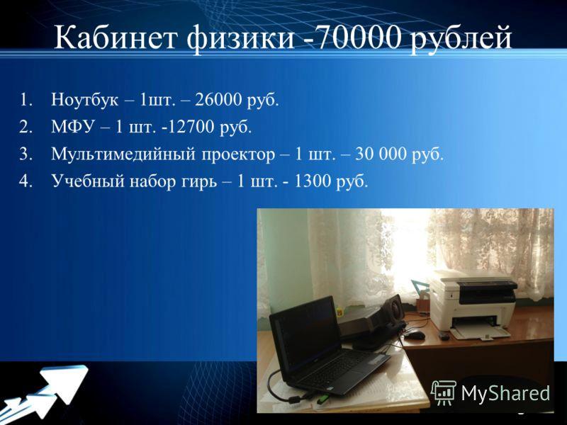 Powerpoint Templates Page 4 Кабинет физики -70000 рублей 1.Ноутбук – 1шт. – 26000 руб. 2.МФУ – 1 шт. -12700 руб. 3.Мультимедийный проектор – 1 шт. – 30 000 руб. 4.Учебный набор гирь – 1 шт. - 1300 руб.