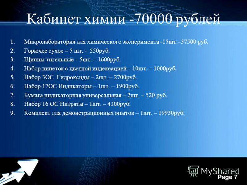 Powerpoint Templates Page 7 Кабинет химии -70000 рублей 1.Микролаборатория для химического эксперимента -15шт.–37500 руб. 2.Горючее сухое – 5 шт. - 550руб. 3.Щипцы тигельные – 5шт. – 1600руб. 4.Набор пипеток с цветной индексацией – 10шт. – 1000руб. 5