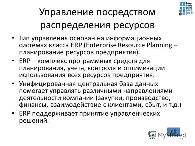 Управление посредством распределения ресурсов Тип управления основан на информационных системах класса ERP (Enterprise Resource Planning – планирование ресурсов предприятия). ERP – комплекс программных средств для планирования, учета, контроля и опти