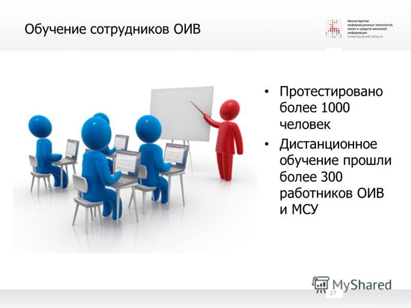 Обучение сотрудников ОИВ Протестировано более 1000 человек Дистанционное обучение прошли более 300 работников ОИВ и МСУ 27
