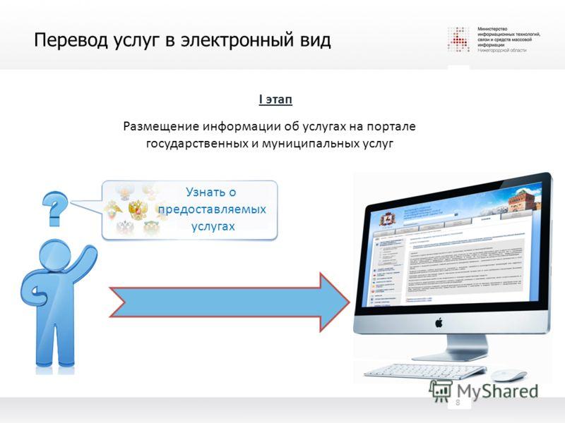 Перевод услуг в электронный вид 8 I этап Размещение информации об услугах на портале государственных и муниципальных услуг Узнать о предоставляемых услугах