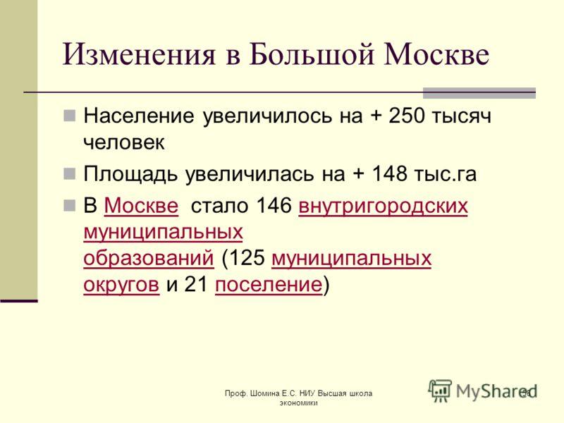 Изменения в Большой Москве Население увеличилось на + 250 тысяч человек Площадь увеличилась на + 148 тыс.га В Москве стало 146 внутригородских муниципальных образований (125 муниципальных округов и 21 поселение)Москвевнутригородских муниципальных обр