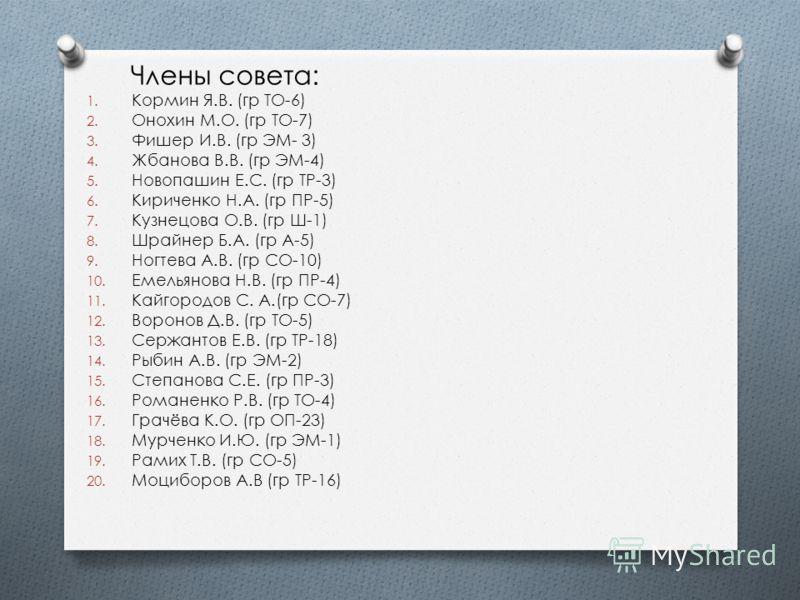 Члены совета: 1. Кормин Я.В. (гр ТО-6) 2. Онохин М.О. (гр ТО-7) 3. Фишер И.В. (гр ЭМ- 3) 4. Жбанова В.В. (гр ЭМ-4) 5. Новопашин Е.С. (гр ТР-3) 6. Кириченко Н.А. (гр ПР-5) 7. Кузнецова О.В. (гр Ш-1) 8. Шрайнер Б.А. (гр А-5) 9. Ногтева А.В. (гр СО-10)