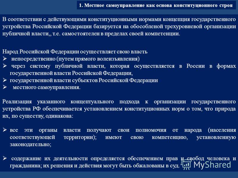 В соответствии с действующими конституционными нормами концепция государственного устройства Российской Федерации базируется на обособленой трехуровневой организации публичной власти,, т.е. самостоятелен в пределах своей компетенции. Народ Российской