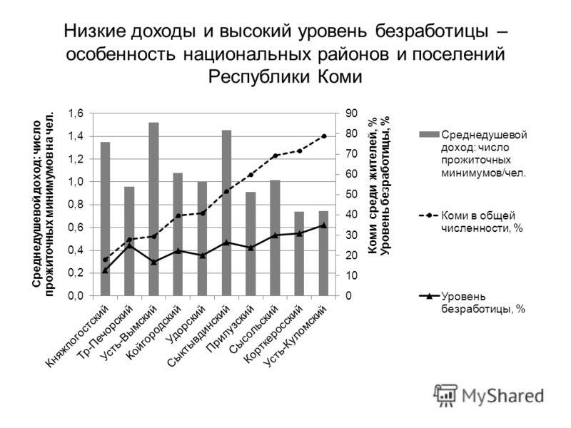 Низкие доходы и высокий уровень безработицы – особенность национальных районов и поселений Республики Коми