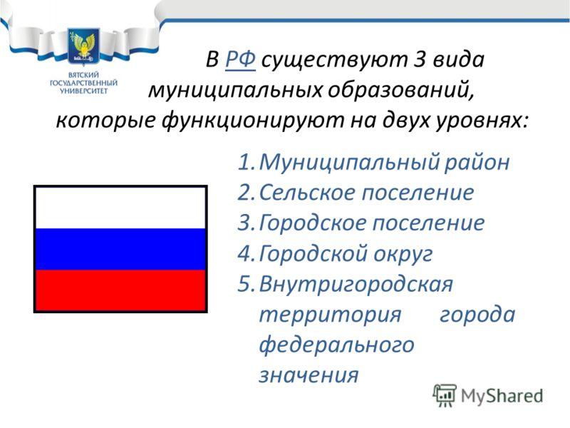 В РФ существуют 3 вида муниципальных образований, которые функционируют на двух уровнях: 1.Муниципальный район 2.Сельское поселение 3.Городское поселение 4.Городской округ 5.Внутригородская территория города федерального значения