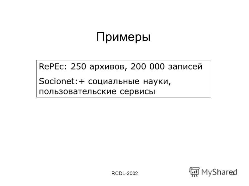 RCDL-200210 Примеры RePEc: 250 архивов, 200 000 записей Socionet:+ социальные науки, пользовательские сервисы