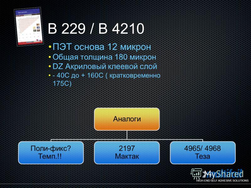 HIGH-END SELF ADHESIVE SOLUTIONS Аналоги Поли-фикс? Темп.!! 2197 Мактак 4965/ 4968 Теза B 229 / B 4210 ПЭТ основа 12 микрон Общая толщина 180 микрон DZ Акриловый клеевой слой - 40C до + 160C ( кратковременно 175C)