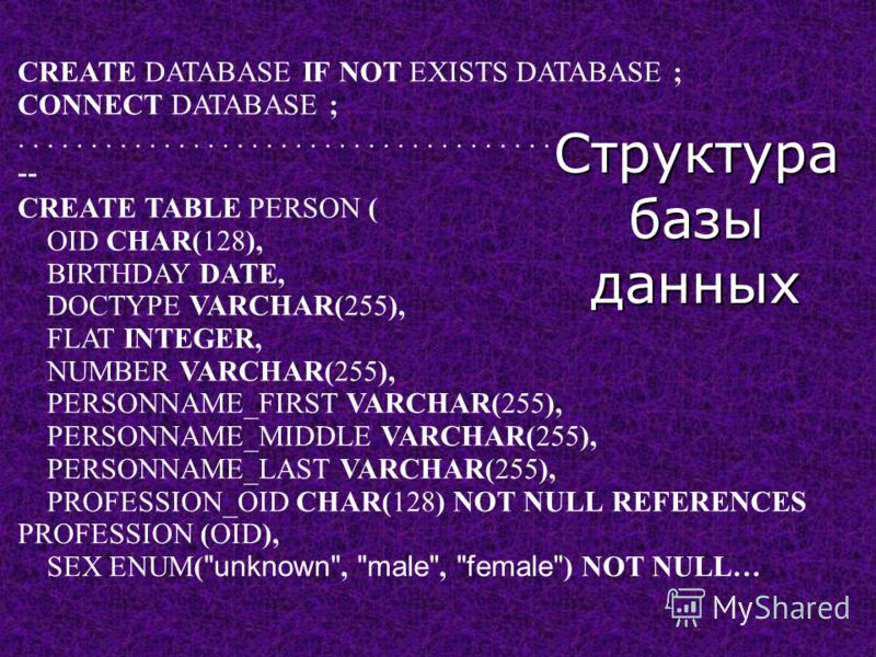 CREATE DATABASE IF NOT EXISTS DATABASE ; CONNECT DATABASE ;..................................... -- CREATE TABLE PERSON ( OID CHAR(128), BIRTHDAY DATE, DOCTYPE VARCHAR(255), FLAT INTEGER, NUMBER VARCHAR(255), PERSONNAME_FIRST VARCHAR(255), PERSONNAME