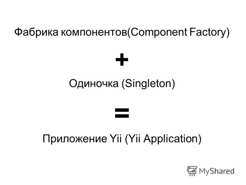 Фабрика компонентов(Component Factory) + Одиночка (Singleton) = Приложение Yii (Yii Application)