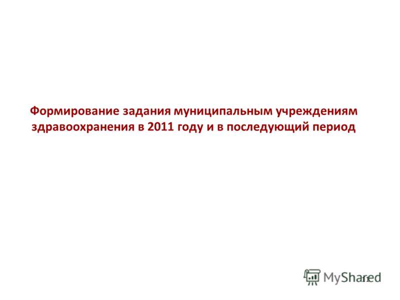 Формирование задания муниципальным учреждениям здравоохранения в 2011 году и в последующий период 11