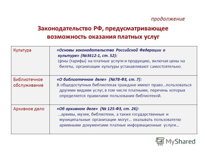 Законодательство РФ, предусматривающее возможность оказания платных услуг продолжение Культура «Основы законодательства Российской Федерации о культуре» (3612-1, ст. 52): Цены (тарифы) на платные услуги и продукцию, включая цены на билеты, организаци
