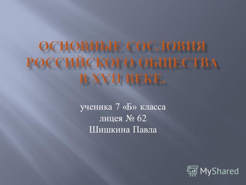 ученика 7 « Б » класса лицея 62 Шишкина Павла